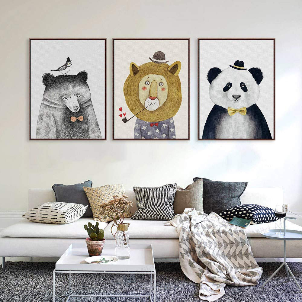 30 * 40 cm Bagoo Panda Prints Paintings to Photo Printed Extreme Precision on Canvas Stretched Framed Modern Pop Wall Art Decor