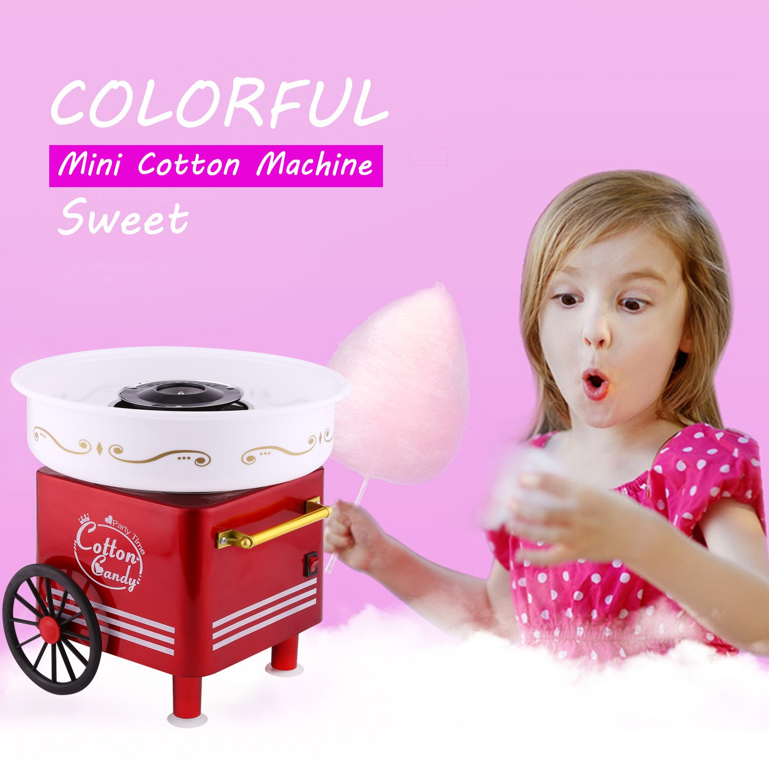 Vintage Sugar, SugarFree, or Hard Candy Machine Cotton Candy Floss Maker Birthday Party Supplies (Red) by Ferty (Image #3)