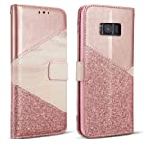 ZCDAYE Bling Glitter [Magnetic Closure] PU Leather [Ceramic Pattern] Flip Wallet Stand Folio Inner Soft TPU Stand Case Cover for Apple Samsung Galaxy S6 Edge - Rose Gold