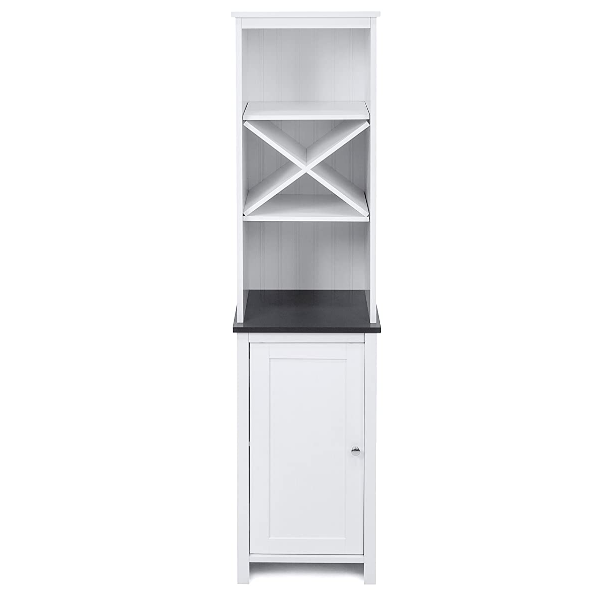 Best Choice Products Wooden Bathroom Tower Storage Cabinet w/ Adjustable Shelves - White