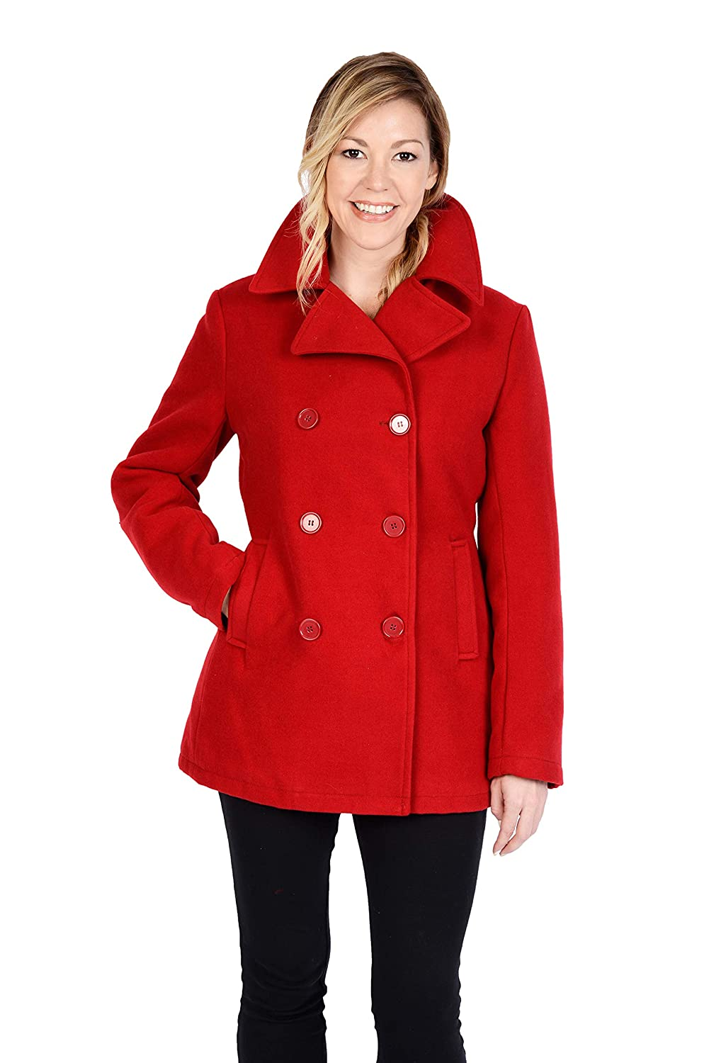3021fff0628 Excelled Leather Women s Plus Size Classic Pea Coat at Amazon Women s  Clothing store