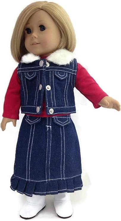 Denim Skirt with Pleats Fits 18 inch American Girl Dolls