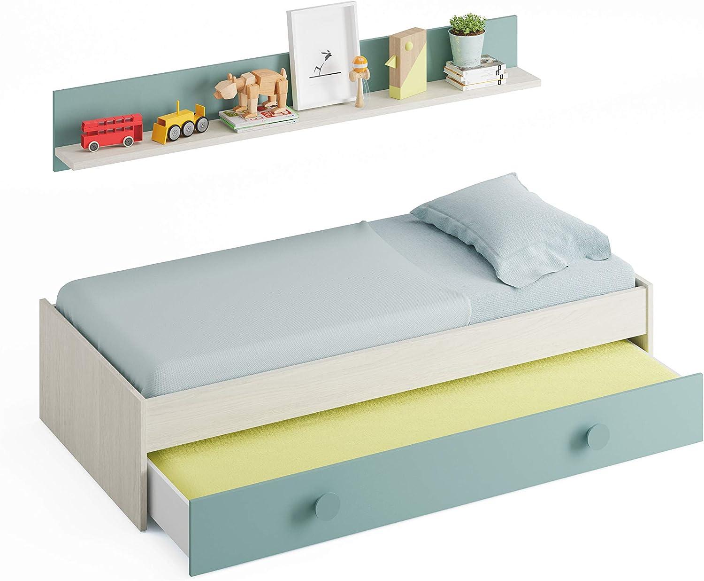 Habitdesign Cama Nido Juvenil, 2 Camas + Estante, Color Blanco Alpes y Verde Acqua, Medidas: 200 cm (Largo) x 98 cm (Ancho) x 43 cm (Alto)