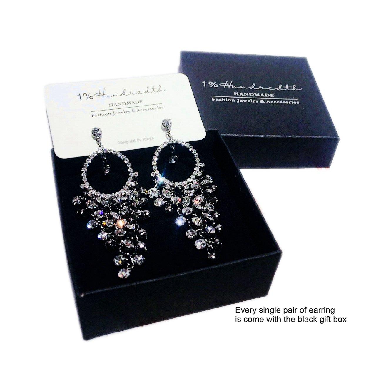 1% HundredthZ Large Ornate Silver Cubic Zirconia Tassel Dangle Drop Earrings for Women in Wedding Bride by HundredthZ (Image #4)