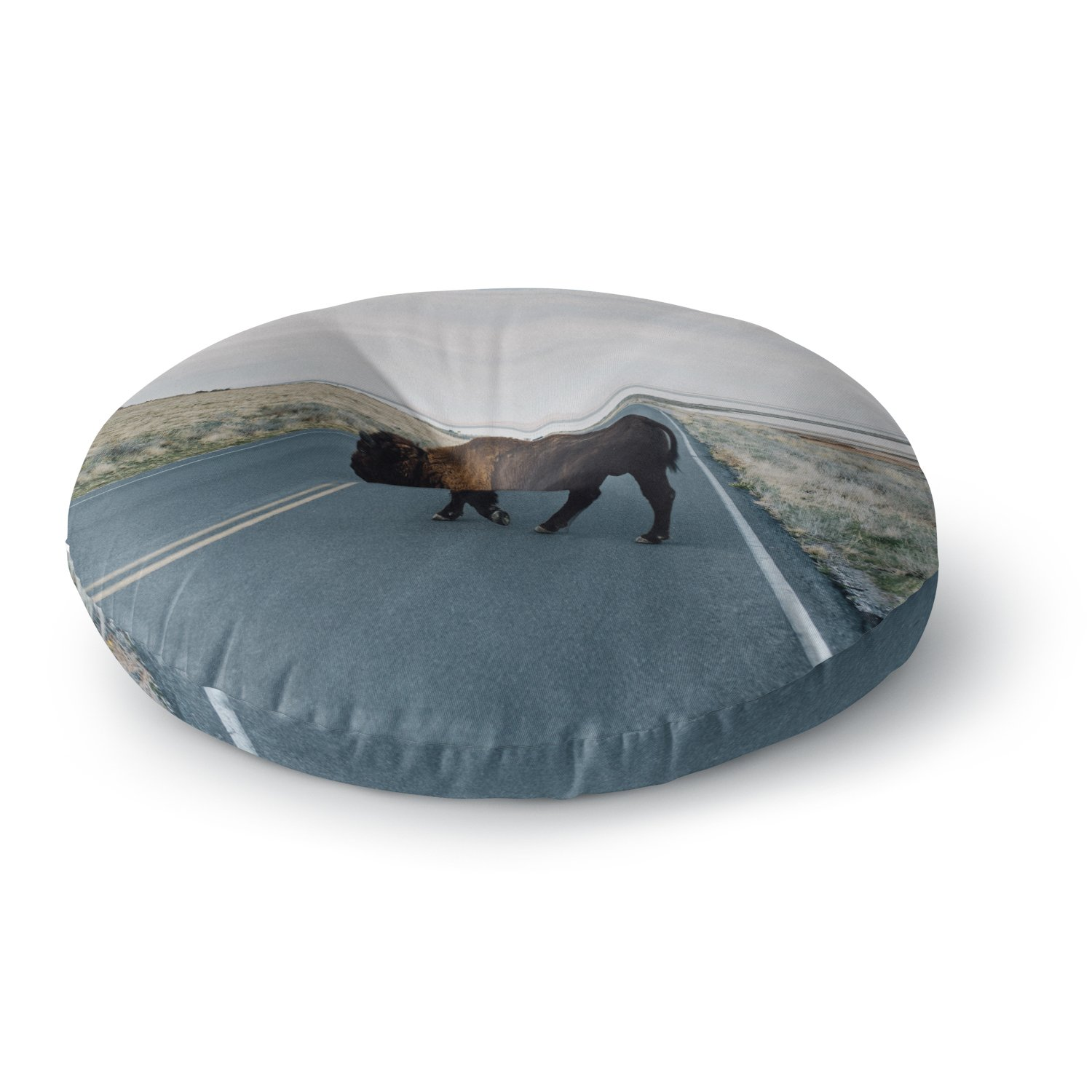KESS InHouse Chelsea Victoria Buffalo Crossing Brown Blue Animals Photography Round Floor Pillow, 26''
