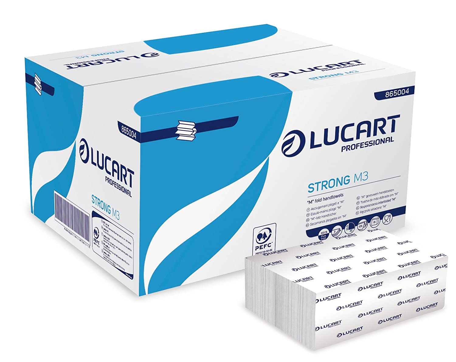 Lucart Professional 865004 Hand Towels, 125 M-Fold, Strong M3 (Pack of 1875)