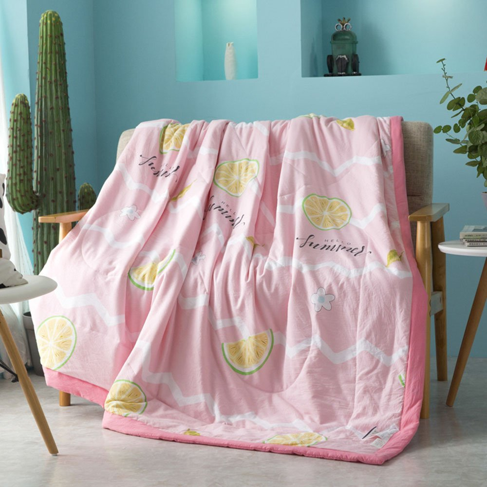 Uther Thin Comforter for Summer , Pink Washable Quilted Coverlet Bedspread Bed Cover Summer Quilt Blanket (Lemon,Twin)
