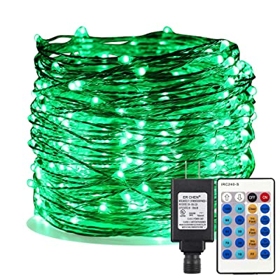 ER CHEN Green LED String Lights Plug in, 99ft 300 LED Long Fairy Lights Dimmable with Remote, Indoor/Outdoor Silver Coated Copper Wire Decorative Lights for Bedroom, Patio, Garden, Yard : Garden & Outdoor