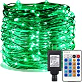 ER CHEN Green LED String Lights Plug in, 99ft 300 LED Long Fairy Lights Dimmable with Remote, Indoor/Outdoor Silver Coated Copper Wire Decorative Lights for Bedroom, Patio, Garden, Yard