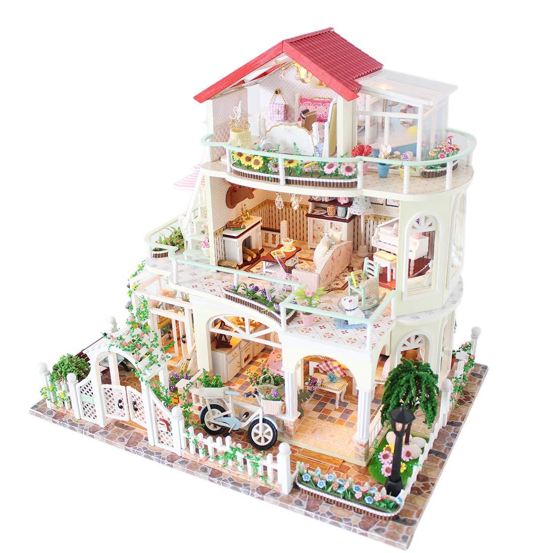 Seciie DIY Puppenhaus aus Holz mit Zubehör Miniatur Dollhouse Kits mit Licht und Musik für Jugendliche und Erwachsene, Höhe 29,5cm