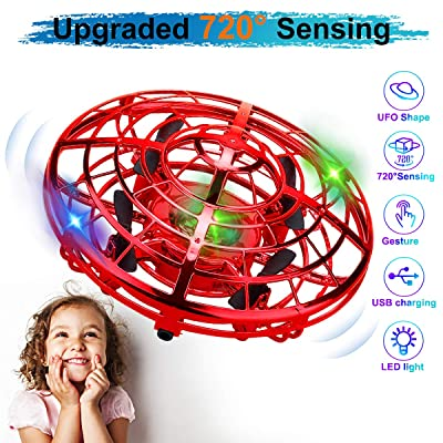 KToyoung Hand Operated Drone for Kids Adults,Flying Ball Drones Mini Drones with LED Lights,Flying Ball Toys UFO with 360° Rotating Interactive Infrared,Helicopter Ball for Boys Girls Indoor Outdoor: Toys & Games