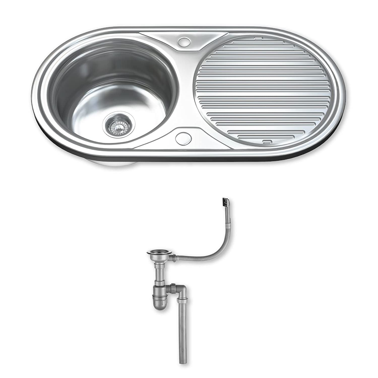 Dihl KS-1062-WST1 1.0 Single Bowl Stainless Steel Kitchen Sink with Drainer and Waste - Chrome