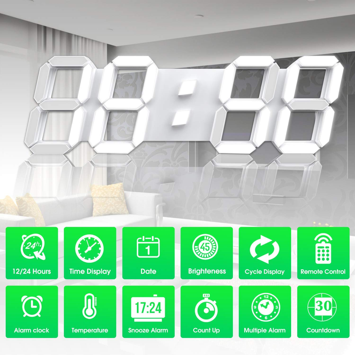 3D LED Digital Wall Clock 15 Inch with Remote Control Large Timer Nightlight Brightness Adjustable for Office Home Hotel Big Room