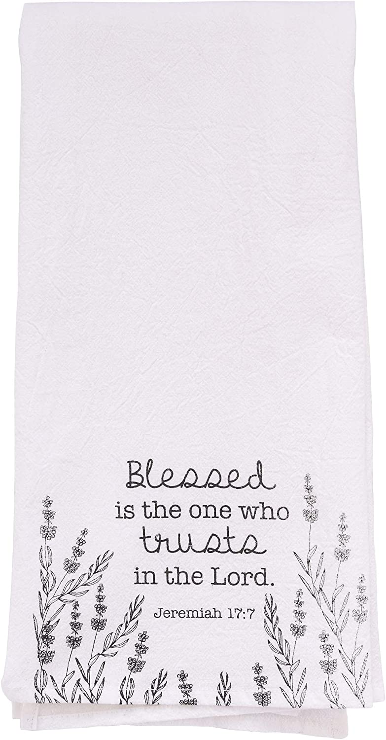 Christian Kitchen Towel, – Trust in The Lord Tea Towel – Jeremiah 17:7 Printed Flour Sack Cotton Kitchen Table Linens