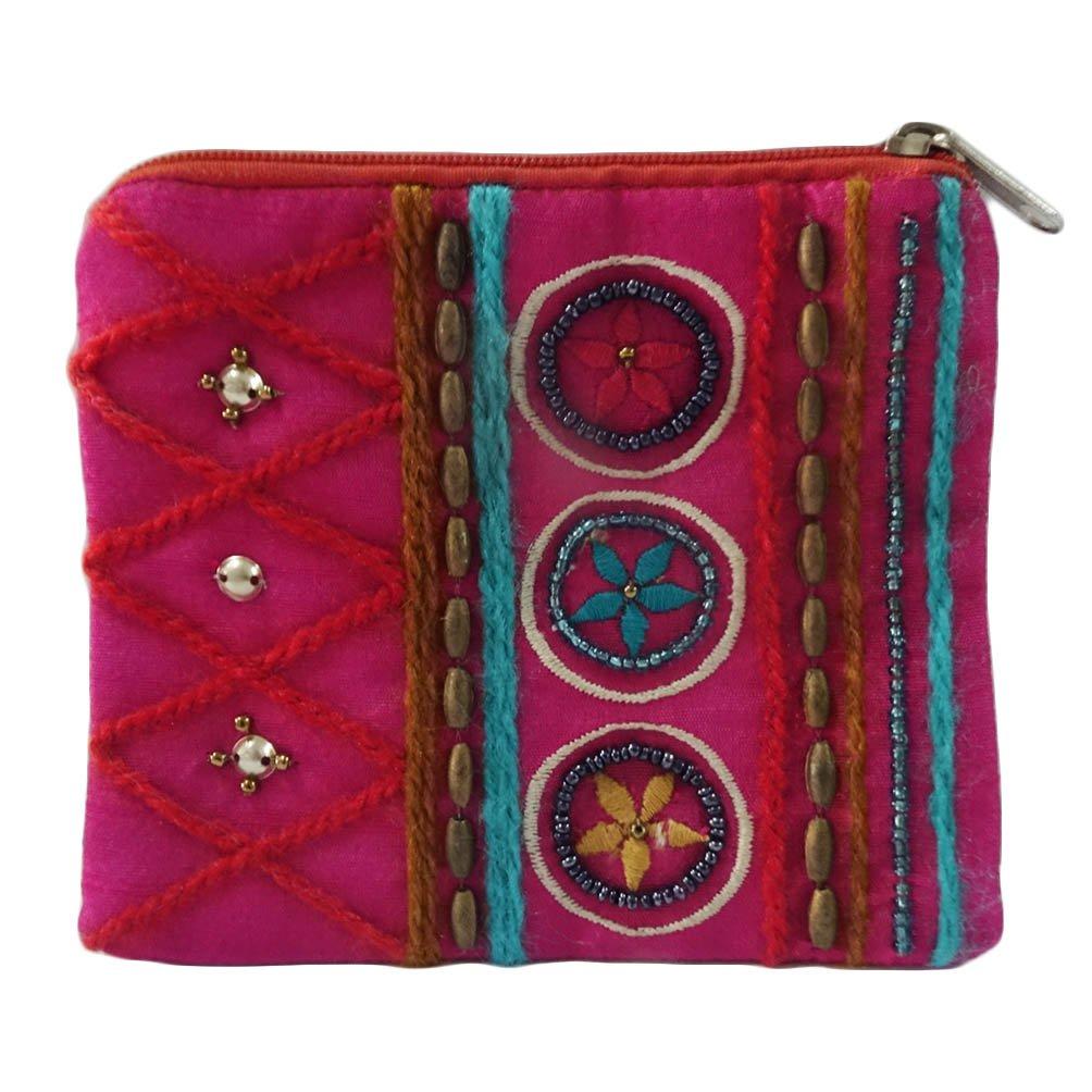monedero decorativa de tela bordada de color magenta pequeño ...