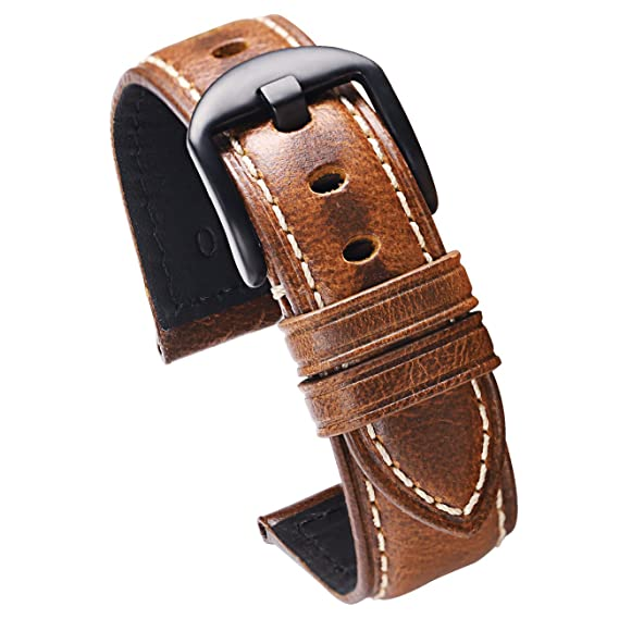 ef008b433 Carty Mens Watch Bands Leather Strap Oil Wax Calfskin 20mm Brown Watch  Strap Brushed Black Buckle