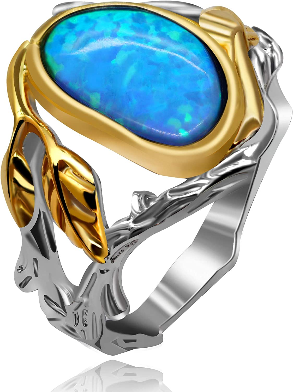 Antique Jewelry Antique Opal Rings for Women Wide Gold Band Womans Ring Size 6 7 8 9 Gift Statement Ring Vintage Large Oval Stone Ring