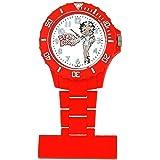 Montre Infirmière Betty Boop pour Femme Rouge au Cadran Blanc avec Image