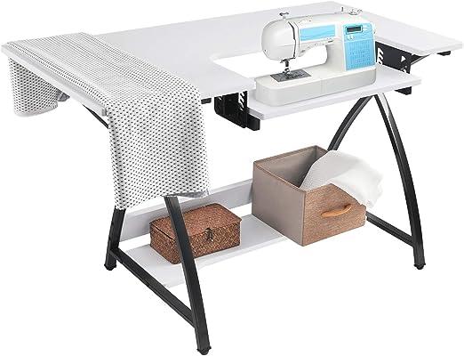 BAHOM Mesa de Costura Ajustable Multiusos, Plataforma de máquina de Coser computadora con estantes, Mesa de Corte Artesanal, Color Blanco: Amazon.es: Hogar