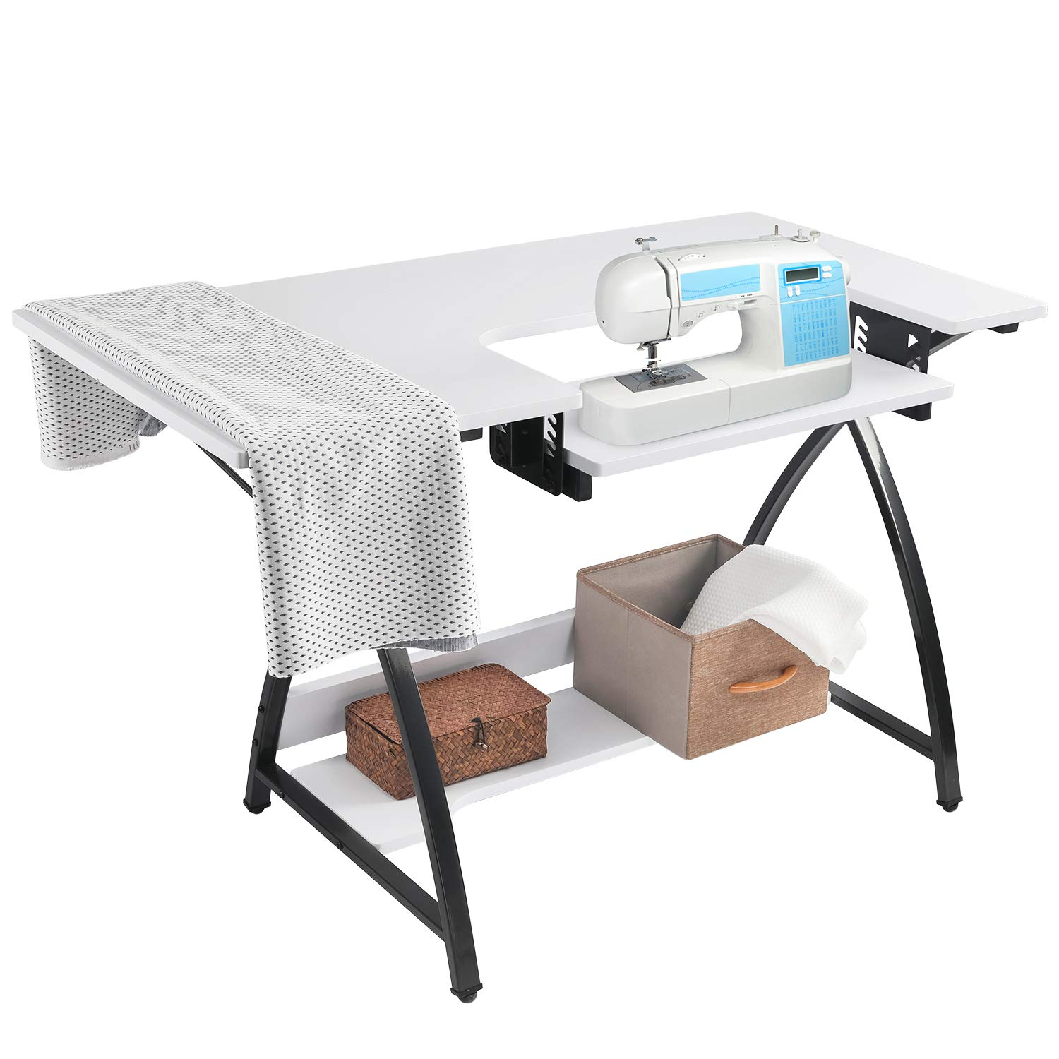 BAHOM Adjustable Sewing Craft Table Multipurpose, Sewing Machine Platform Computer Desk with Shelves, Craft Cutting Table, White by BAHOM