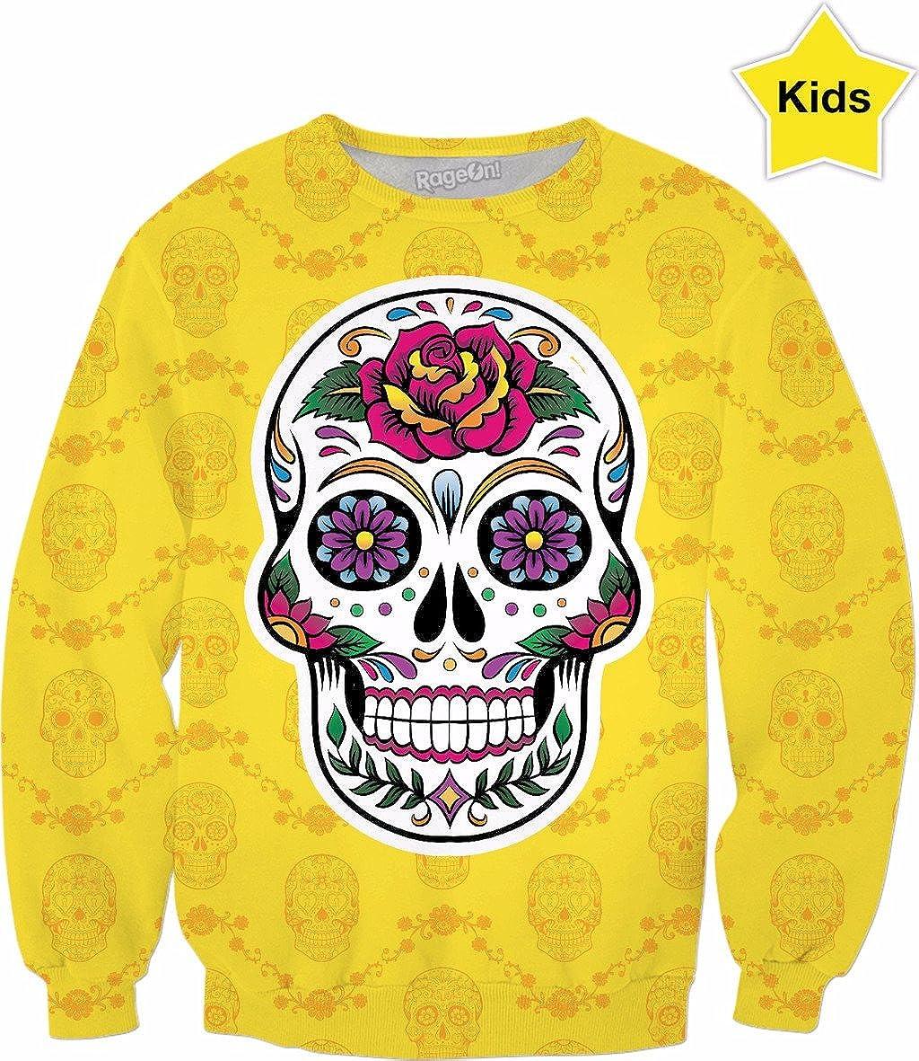 RageOn FridaKahlo Kids Yellow Sugar Skull Premium All Over Print Sweatshirt