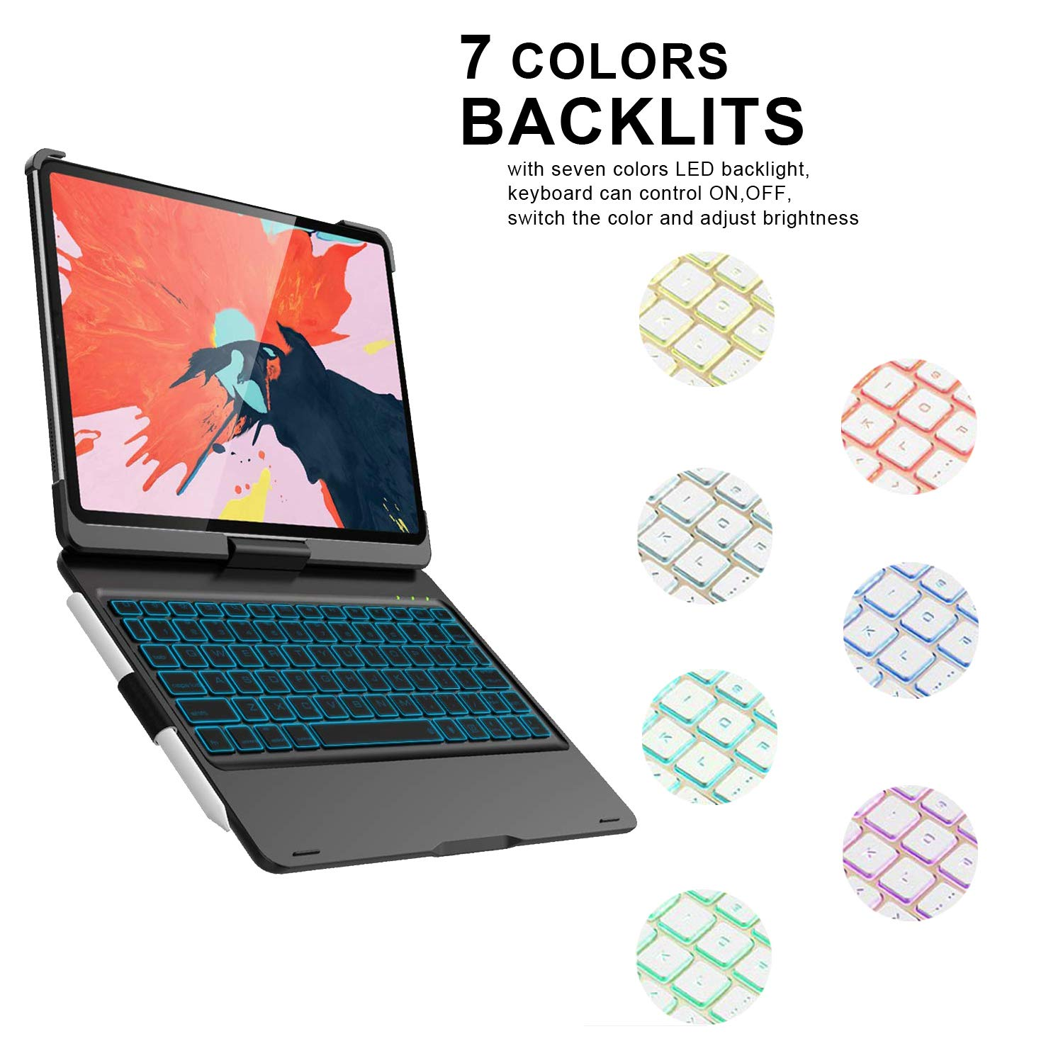 """iPad Keyboard Case for iPad Pro 11"""" 2018 [Supports Pencil 2nd Gen Charging Mode], VANKY 360 Rotate Wireless/Bluetooth -Thin & Light Smart Backlit 7 Color iPad Case with Keyboard (Black) by VANKY (Image #2)"""