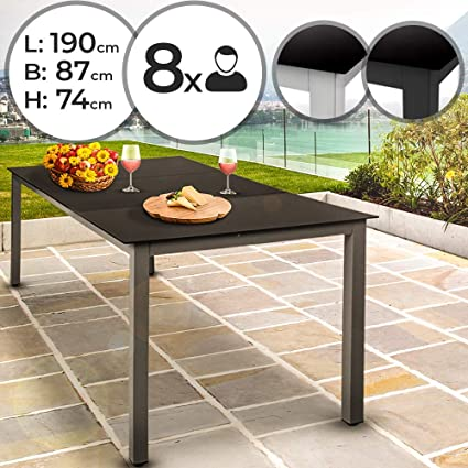 Miadomodo Table de Jardin en Aluminium - LaxPxH: 190 x 87x74 cm, Plateau en  Verre Noir, Cadre Gris Clair - Table à Manger, Mobilier de Jardin