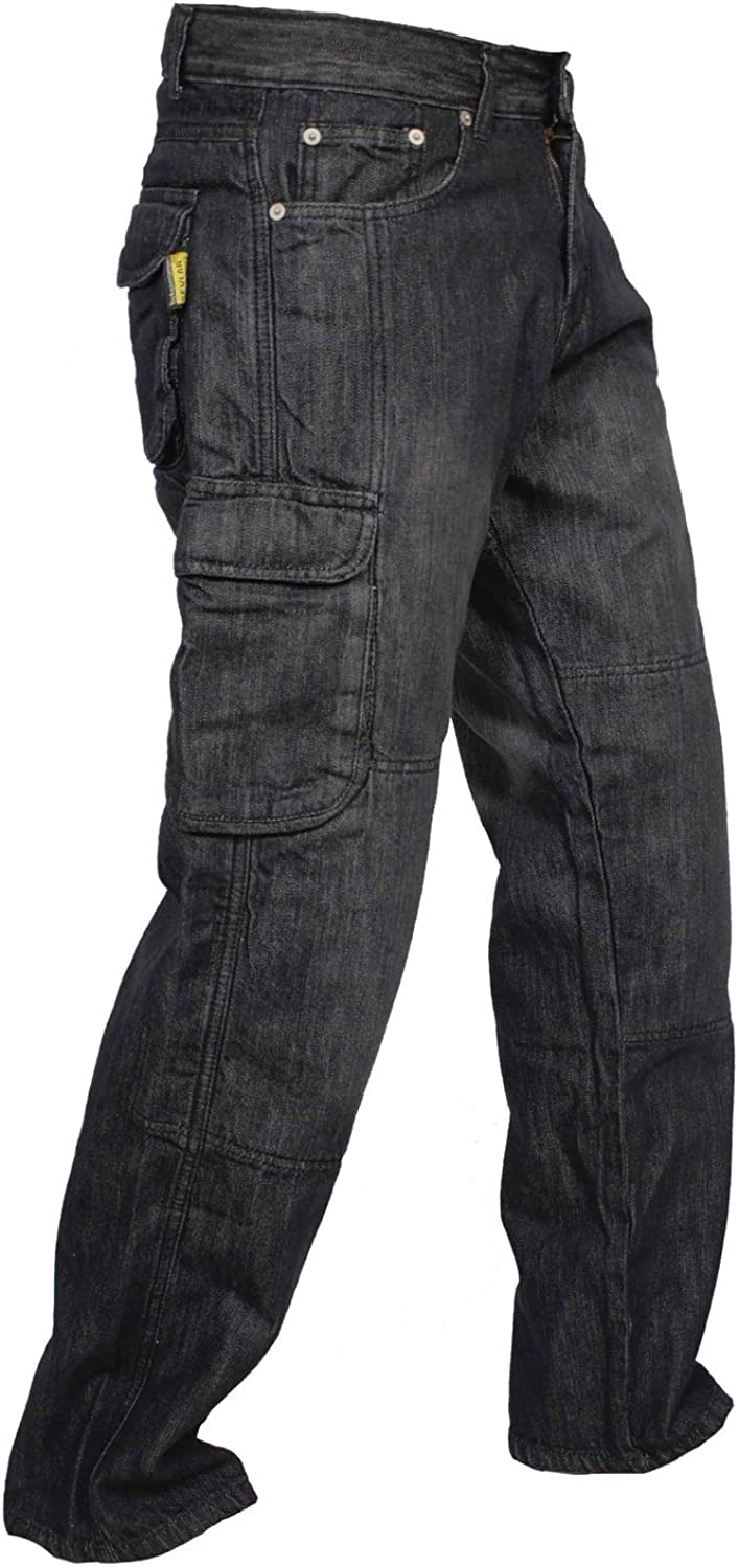 newfacelook Mens Denim Motorcycle Motorbike Cargo Trousers Jeans with Aramid Protection