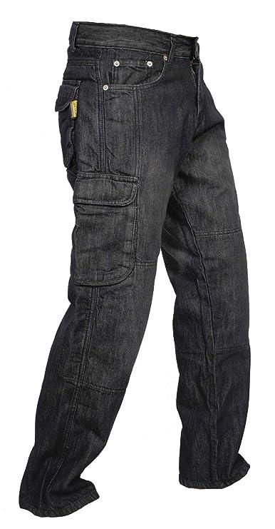 Newfacelook Hombres Denim pantalones vaqueros Moto de carga con protección de aramida