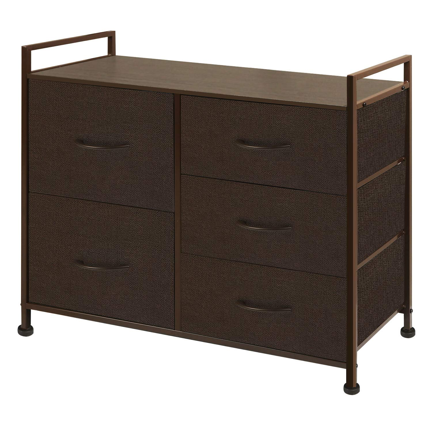 WLIVE Dresser with 5 Drawers, Fabric Storage Tower with Handrail, Organizer Unit for Bedroom, Hallway, Entryway, Closets, Sturdy Steel Frame, Wood Top, Easy Pull Handle by WLIVE