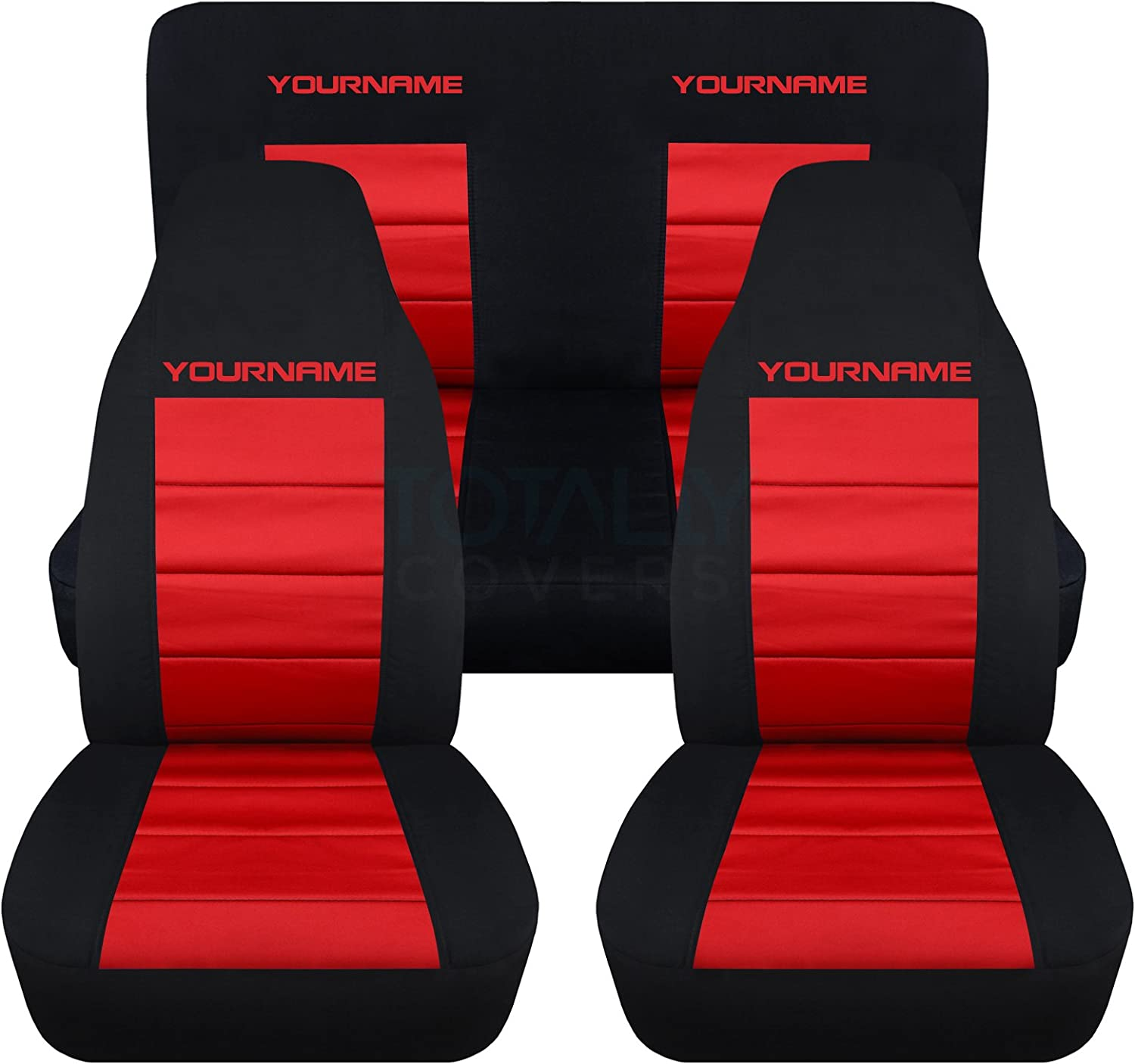 Full Set Coupe//Convertible Solid//Split Bench 4th Gen Totally Covers Compatible with 1994-2004 Ford Mustang 2-Tone Seat Covers w Your Name//Text Black /& Blue