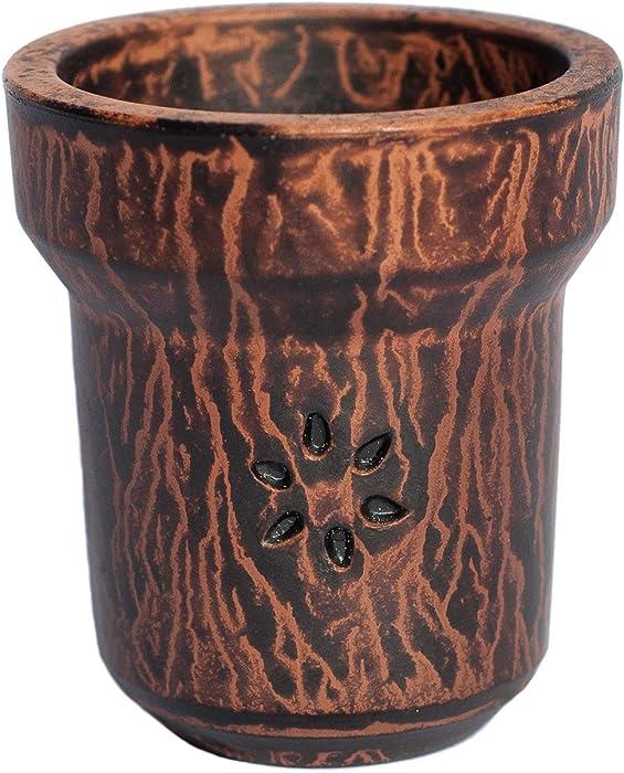 Hookah Bowl Solaris Head Handmade from 100% Fire Clay for Smoking Shisha, Weight 0.55 ft. + Grommet for Hooka (Mercury)