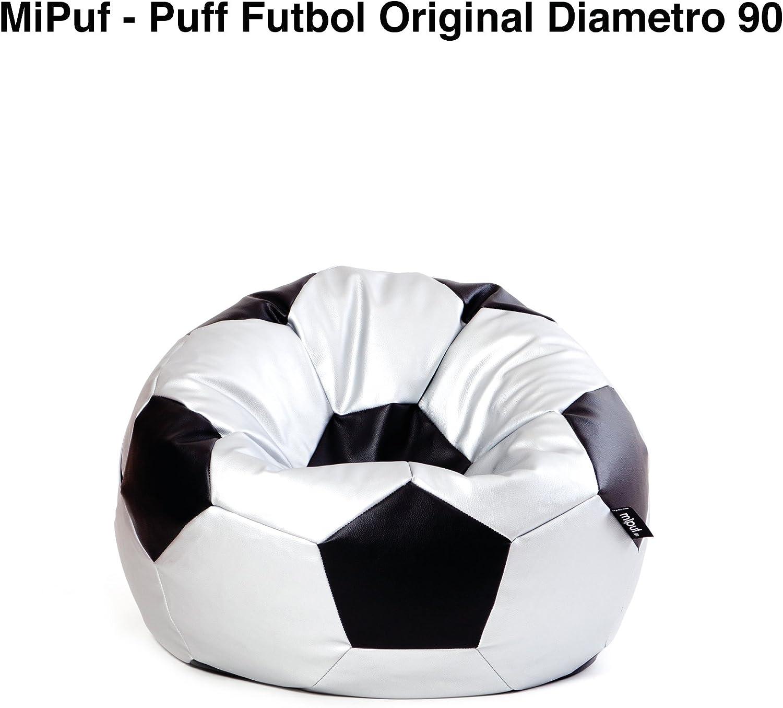 MiPuf - Puff Futbol Original - 90cm diámetro - Tejido Polipiel Alta Resistencia - Doble Cremallera - Relleno Incluido - Plata y Negro - 4 años de Garantía: Amazon.es: Hogar