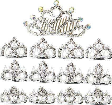 Baby Girl kid Mini Tiny Rhinestone Small Crown Hair Comb Tiara Party