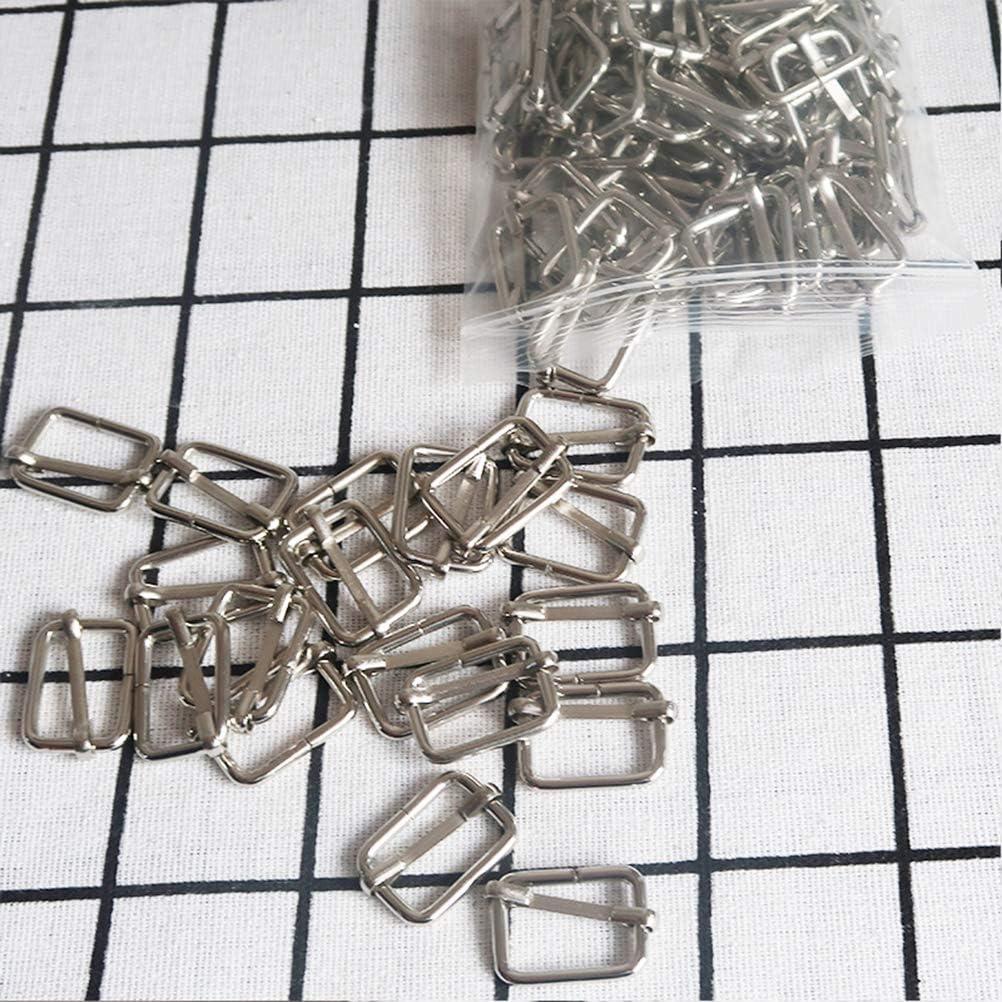 SUPVOX 20pcs Metal Roller Buckles Ring Slide Buckle Triglide Slides Adjustable Bag Strap for DIY Craft Hardware Suspenders Making 38x16x2.8mm Silver