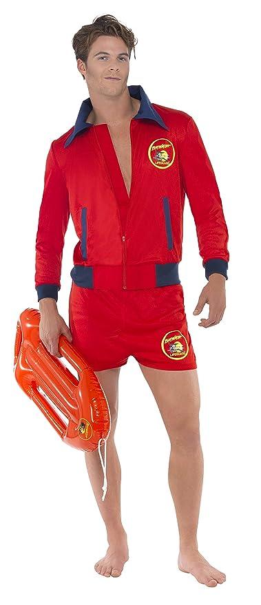 Smiffys Smiffys-20587L Licenciado Oficialmente Disfraz de Vigilante de la Playa de Baywatch, con