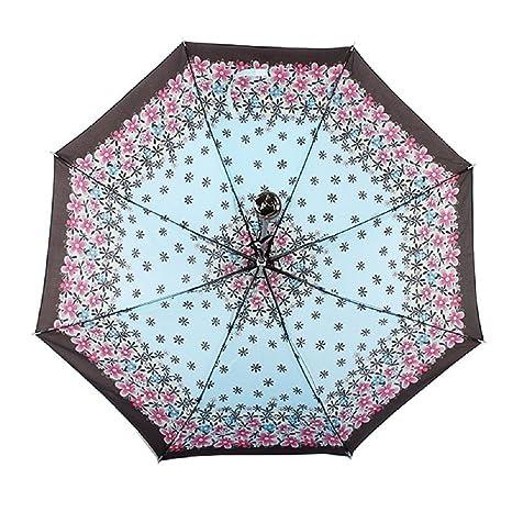 Zhrui Paraguas lluvia portátil paraguas plegable mujer a prueba de viento compacto viaje luz solar (