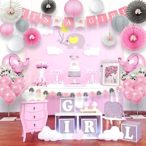 Ajworld Pink Elephant Baby Shower Decorations for Girl Kit with Guest Book It's a Girl Banner Garland Paper Fans Lanterns Cake Toppers Sash Gift Tags and Balloons