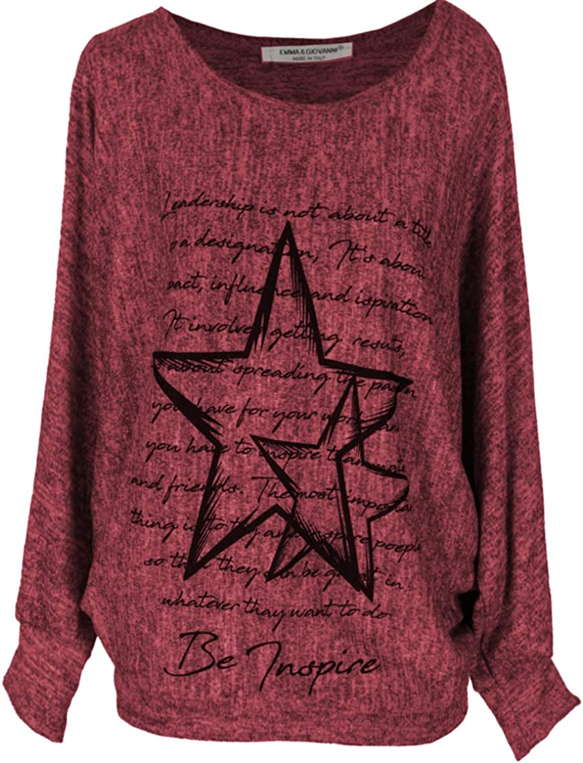 Pullover//Sweatshirt Loose Fit Emma /& Giovanni - Damen Made In Italy