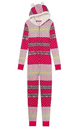 Victorias Secret, Pink Onesie Pajamas Fireside Sherpa Red Medium