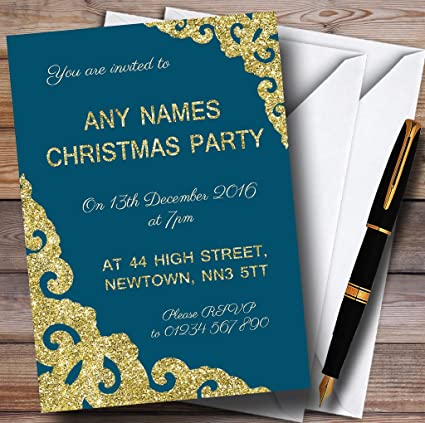 deep teal with gold border personalized christmasnew yearholiday party