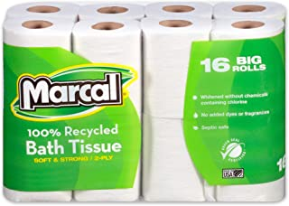 product image for Marcal 1646616PK 100% Recycled Two-Ply Bath Tissue, White, 16 Rolls/Pack