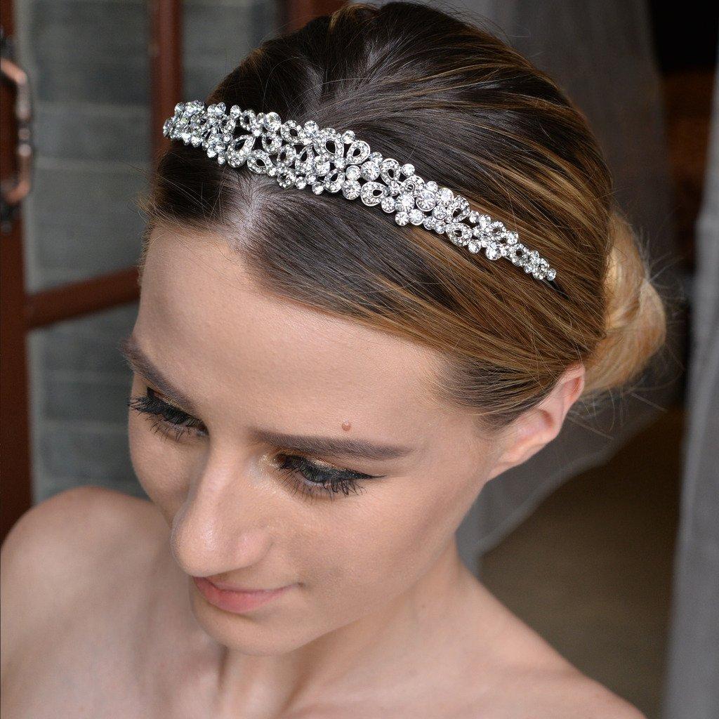 Ever Faith Vintage Inspired Flower Clear Austrian Crystal Headband A13922-1