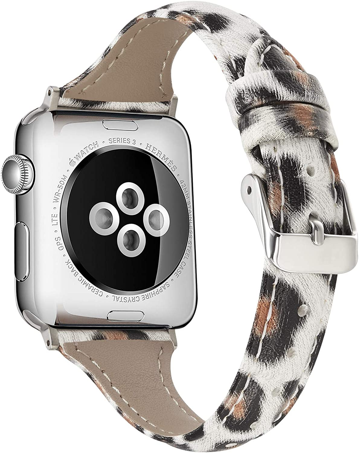 Genuine Leather Compatible with Apple Watch Slim Leopard Bands 38mm 40mm for iWatch SE Womens Strap Classic Wristband Bling Glitter Strap Series 6 5 4 3 2 1 (Leopard 38/40mm)