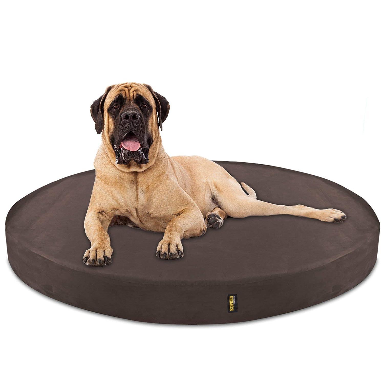 Brown Jumbo XL Brown Jumbo XL KOPEKS Deluxe Orthopedic Memory Foam Round Dog Bed Jumbo XL Brown