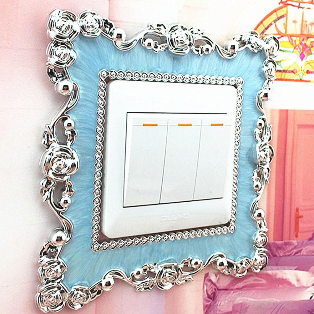 Resin Square Home Wall Light Switch Socket Stickers Cover Decoration 8.7 x 8.7cm