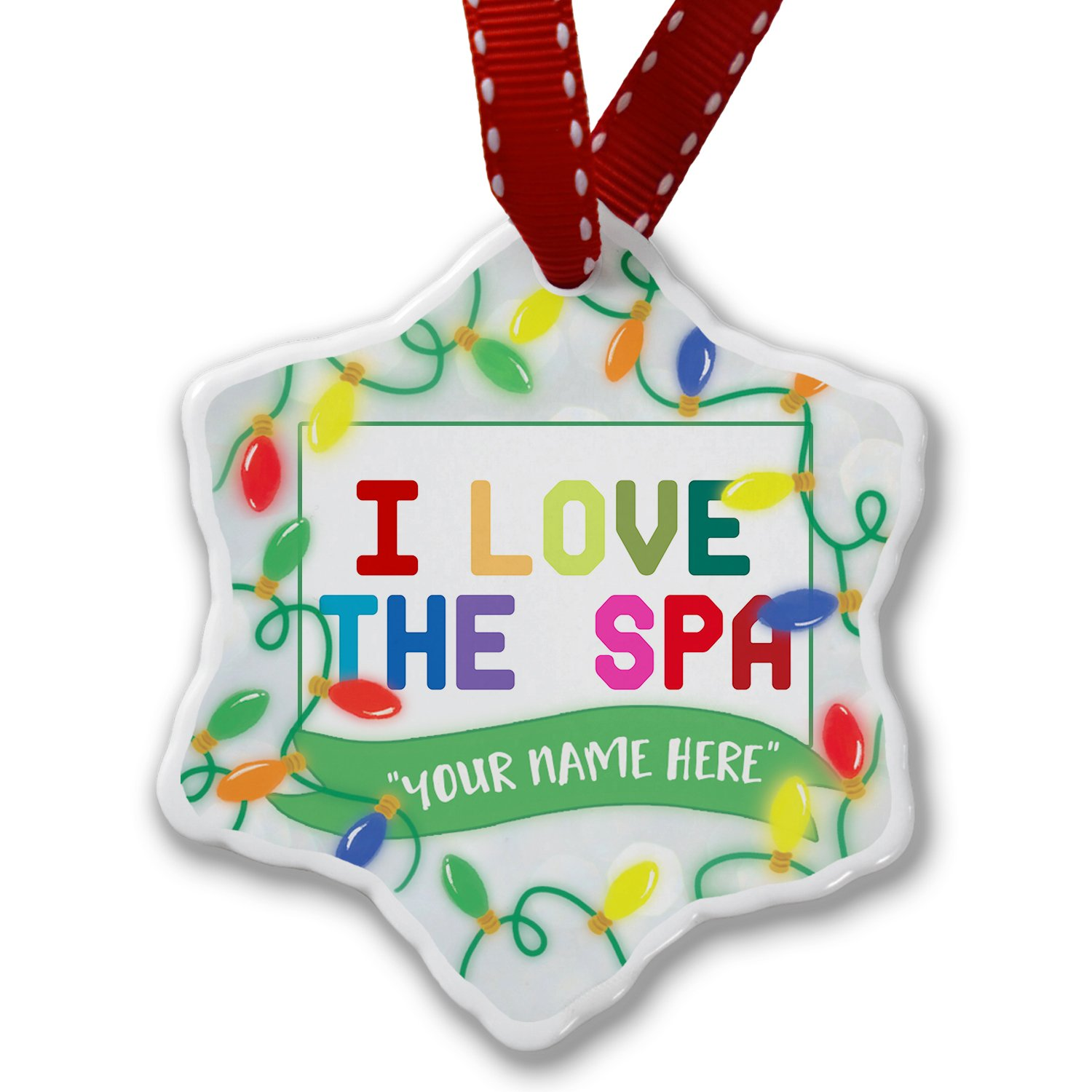 Personalized Name Christmas Ornament, I Love the Spa,Colorful NEONBLOND