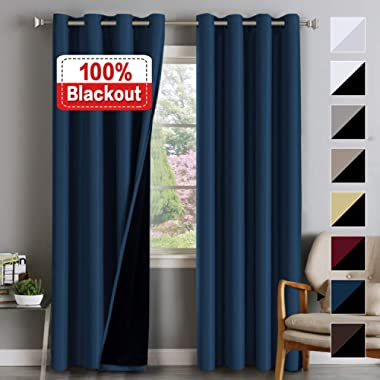 100% BLACKOUT Curtain Set Thermal Insulated Blackout Curtains Double Layer Curtains for Bedroom/Living Room, Heavy Duty Lined Curtains 84 Inches Long, Navy Blue, Grommet, Set of 2 , W52 x L84