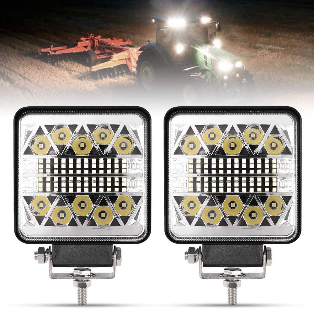 4 Inch LED Work Lights - 2Pcs 8000LM LED Pods - CREE LED Spot Flood Combo Beam Light Bar - Driving Light for Truck ATV UTV SUV Boat Tractor, 1 Year Warranty