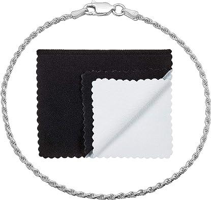 Twist-Rope 1.8mm Diamond-Cut Italian Chain Bracelet in 925 Italy Sterling Silver